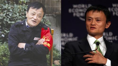 柯全壽(左)因長相似馬雲,成為當地紅人。