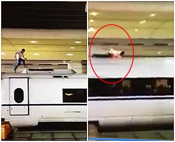廣州南站一名男子橫越路軌後,再攀上高鐵車頂奔跑,結果遭高壓電纜絆倒,身體著火燒死。