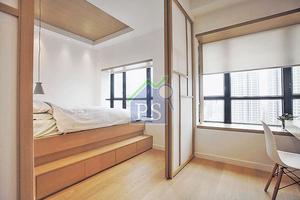 拆去原來兩房的間隔牆後,合併成書房連寢室,並利用日式趟門劃分區域的功能屬性。