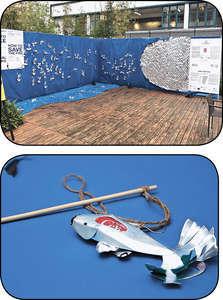 Kat最近獲批一個商場裝置項目,以鋁罐做出一條條魚的《魚之拯救》,冀喚醒大眾對污染問題的關注。(受訪者提供圖片)