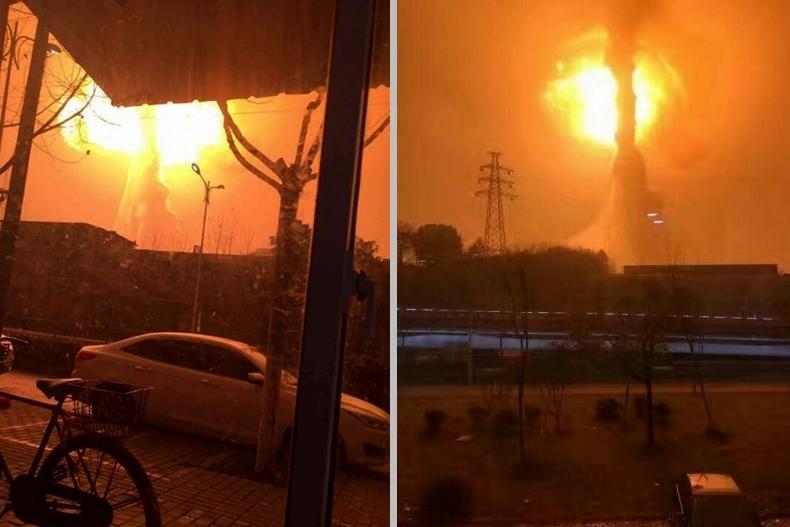 安徽省銅陵市一間化工廠昨日深夜發生巨大爆炸,據網民拍攝視頻顯示,爆炸點猶如核彈爆炸,騰起巨大火球。