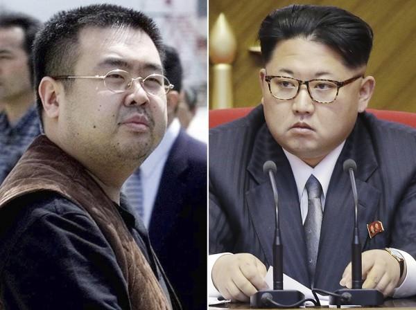 金正男(左)被刺殺,金正恩被指可能知情。