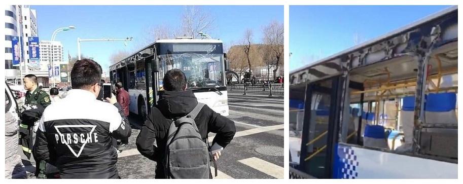 巴士嚴重損毀,側面玻璃被炸碎
