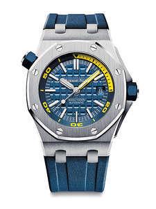 皇家橡樹離岸型潛水計時碼錶去年面世,錶盤色彩搶眼亦充滿活力,新作則減去了計時功能。藍色旋入式錶冠,防水性能達300公尺,並且配備一個可旋轉的內環錶圈,顯示潛水專用刻度及從 60 到 15 分鐘的分段標示。