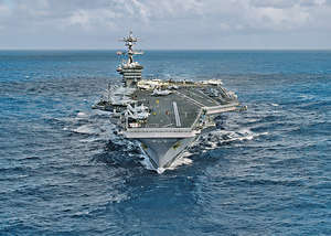 美國官方兩周前稱航母卡爾文森號前往朝鮮海域,但實情是航母並未啟程,而是一直與澳洲進行軍演。(路透社資料圖片)
