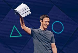 Facebook正研發新技術,讓人利用思想來打字,號稱每分鐘可打100字。圖為公司行政總裁朱克伯格出席F8開發者大會。(法新社圖片)