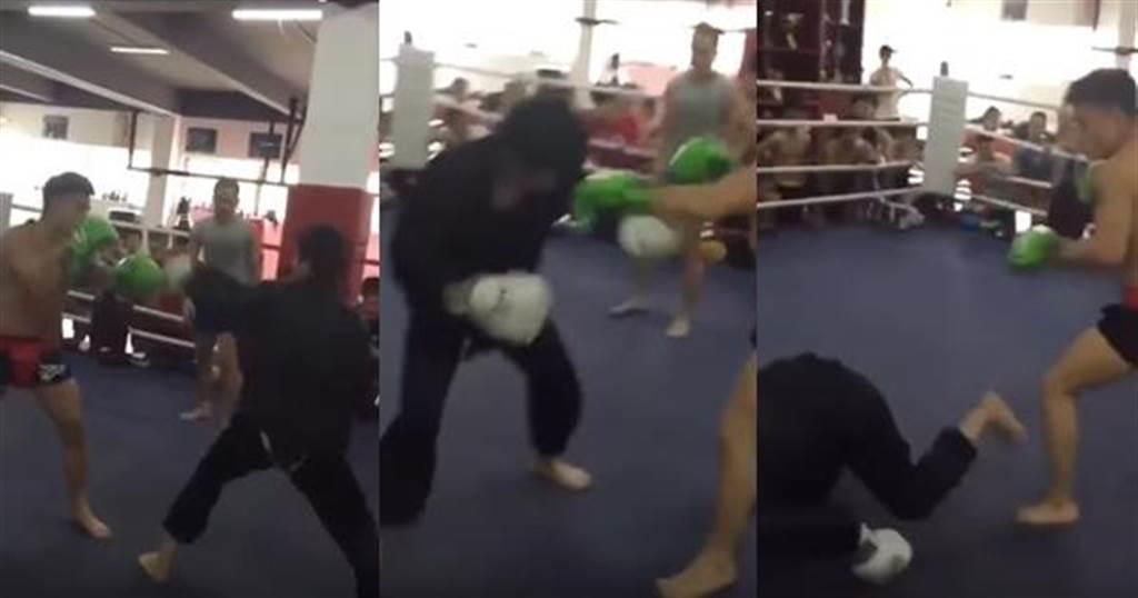 一名「武當弟子」跑去與拳手切磋武藝,比賽開始7秒即被KO。