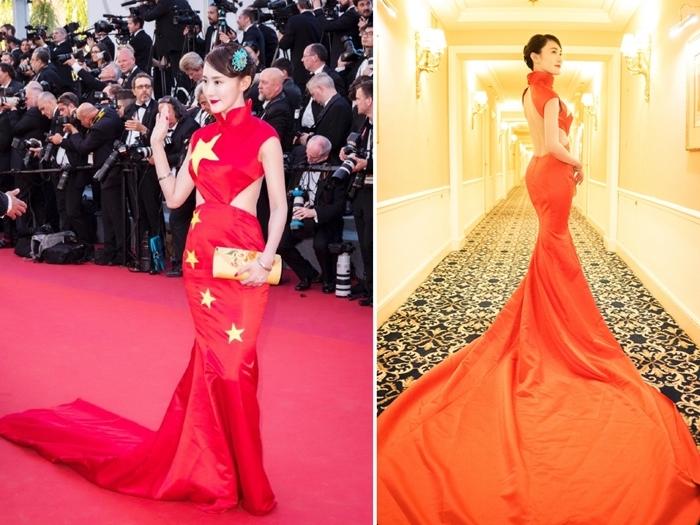 內地網紅徐大寶把中國的五星國旗穿在身上,還改成了露腰裝。