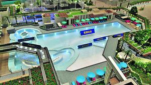 會所提供長約40米的室外泳池、健身室、兒童設施、宴會廳、鋼琴室、VR等潮流玩意設施、麻雀室等,會所設施視乎落成時間而啟用(圖為物業模型)。(本刊攝影組)