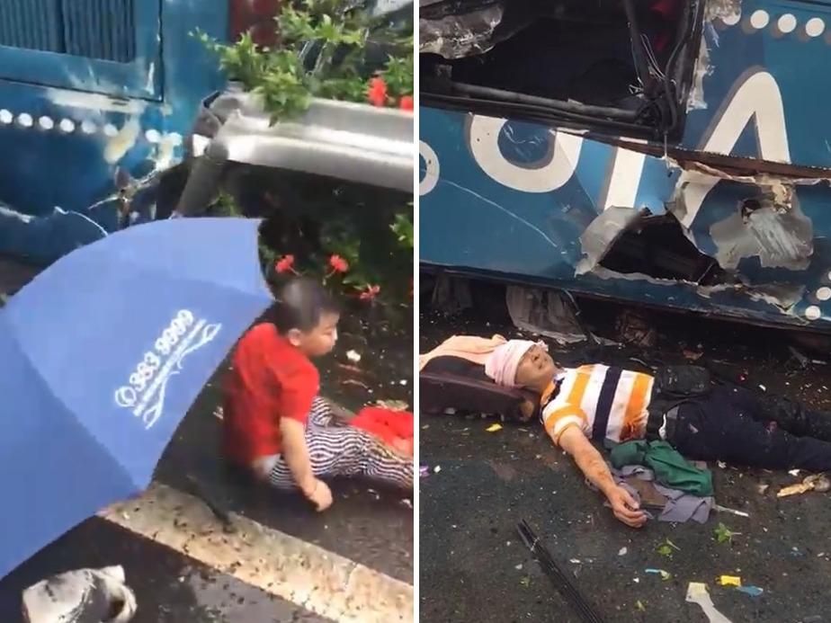 傷者等待救援,部份只是小孩。