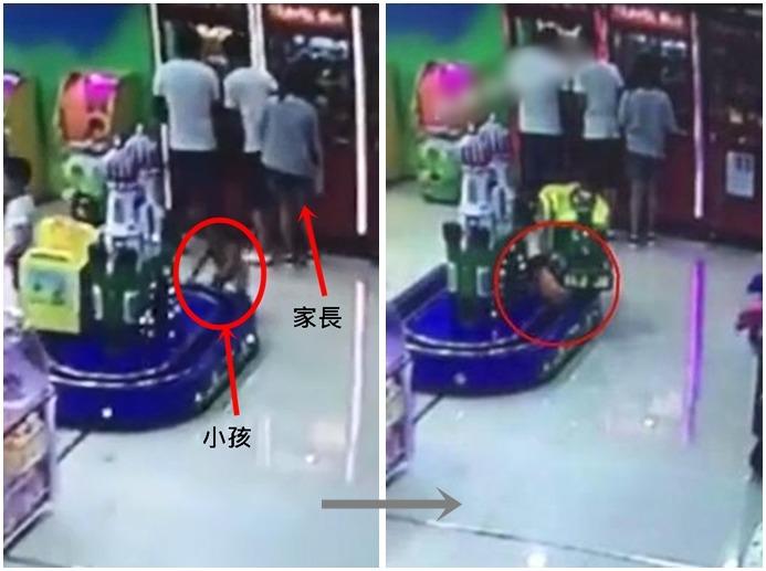 四川成都一名年約1歲的小孩,日前在商場兒童樂園玩耍時,不慎被電動小火車夾著,但家長一直沒發現。
