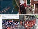 網傳摩拜單車在曼徹斯特被毀的照片。右下角則是正常泊車的狀態。