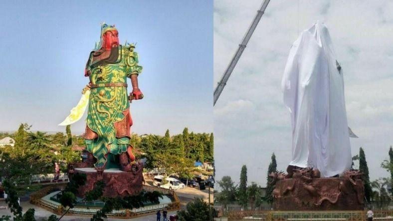 穆斯林團體用白布蓋住關公像,並要求當局將關公像給拆掉。