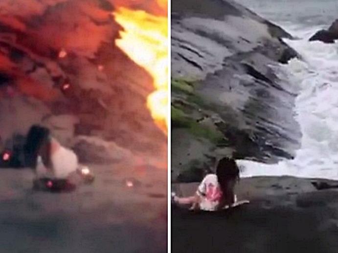 女子跌落火山?原來是女子跌落海的P圖。