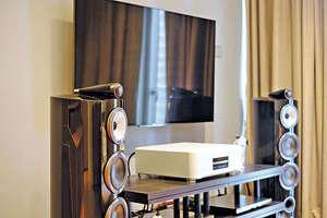影音櫃亦以深色木製陳列架製成,使之與黑色喇叭連成一氣。(相片由被訪者提供)