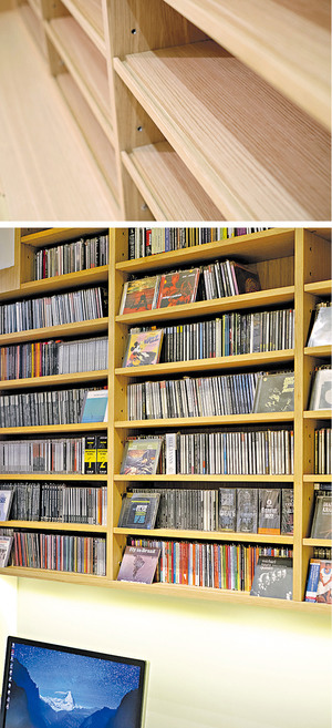 陳列架每層的高度不但以唱片高度作考量,每個層架也造了凹槽,目的是讓戶主橫放唱片,展示封套。(相片由被訪者提供)