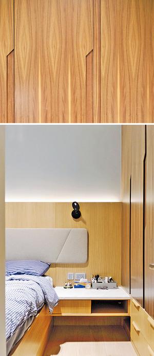 衣櫃一分為二,上為直立式衣櫥、下為抽屜,並分別用了紋理天然的深色木飾面及淺啡色木紋飾面。(相片由被訪者提供)