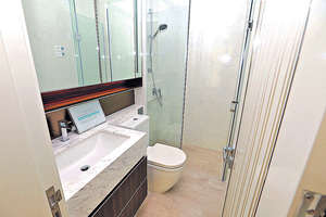 套廁採淋浴間設計,配備Panasonic浴室寶及Ostberg品牌風喉式抽氣扇。(本刊攝影組)