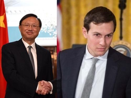 楊潔篪今天在白宮與美國總統高級顧問庫什納會面。