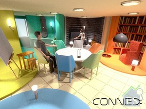 他們的得獎作品「CONNEX」,利用共享蝸居概念,讓每位居住的人擁有私人天地發展個人興趣之餘,還可輕易將活動式設計的滾筒形空間變成共享飯廳的一部分,藉此促進彼此溝通互動。