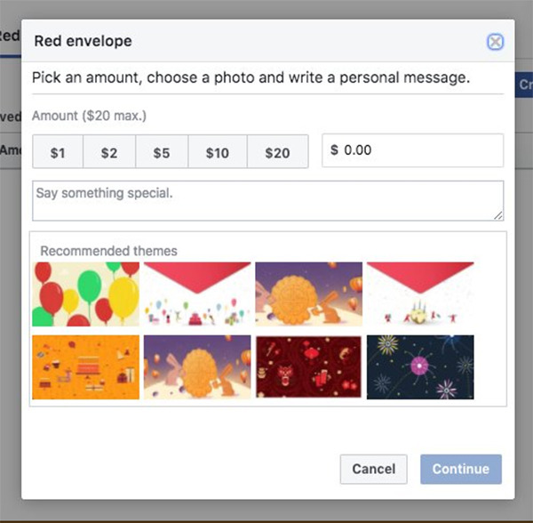 Facebook或將推出「紅包」功能,金額從1美元到20美元不等。