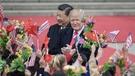 國家主席習近平今晨9時15分在北京人民大會堂東門外廣場舉行歡迎特朗普的正式儀式。