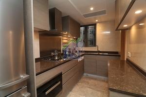 廚房內採用胡桃木色廚櫃,並用雲石作工作枱面,各類煮食爐具齊備。