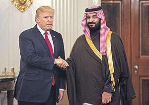 沙特王儲穆罕默德(右)近日對內對外大展拳腳,其之所以敢作敢為主因是得到美國總統特朗普(左)的支持,但美國政府似不認同王儲的行徑。(法新社資料圖片)
