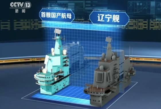 兩艘航母的艦島大小比較。