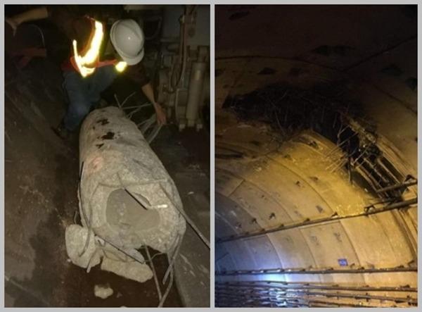 工程違規打樁,樁頭擊穿地鐵隧道。