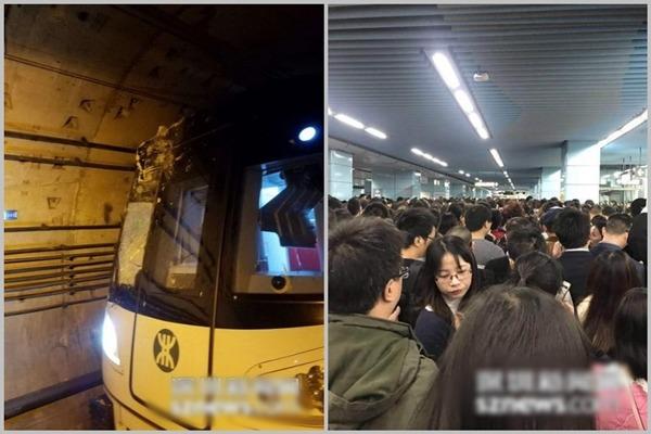 地鐵車頭受損,服務暫停,乘客鼓譟。