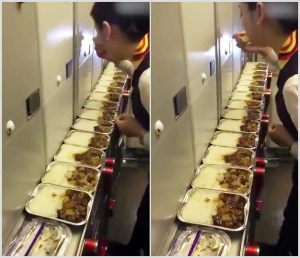 互聯網熱傳短片,身穿制服的空姐在機艙作業區內,連環「品嚐」多盒飛機餐。