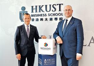 莫斯科斯科爾科沃管理學院主席Andrei Sharonov(左)認為,一帶一路牽涉的國家有不同風土文化,要先了解差異,才可共同做生意。右為俄國學者Alexey Kalinin。(陳偉能攝)