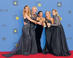 在周日舉行的金球獎頒獎禮上,一眾著名女星均穿上黑色衣服,以聲援#MeToo運動。(法新社資料圖片)