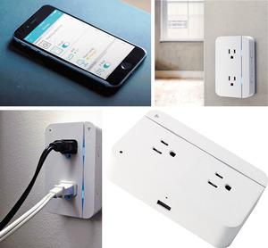 【ConnectSense】美國同名科技公司ConnectSense自家研發的智能插座,可以Wifi無綫網絡連繫iPhone及Apple HomeKit設備,從而遙距操控座枱燈及風扇等小型家庭電器。支援手機應用程式的智能插座,可透過iPhone、iPad及Apple Watch等輕觸或以Siri語音開關調節,設有2個插位及1個USB充電接口,還有一條LED燈帶,顯示通電狀況。2018年,品牌將於原有規格上加入藍牙傳輸、溫度及濕度傳感器等,迎接電子科技新紀元。(查詢:www.connectsense.com)(相片由被訪者提供)