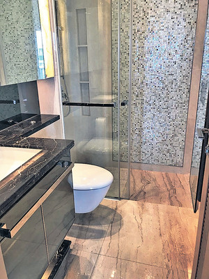 浴室的淋浴間採玻璃門設計,透視感強。