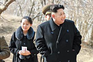 北韓領袖金正恩(右)派出親妹金與正(左)出席南韓平昌冬奧,是金正恩送給南韓總統文在寅的政治厚禮。(法新社資料圖片)