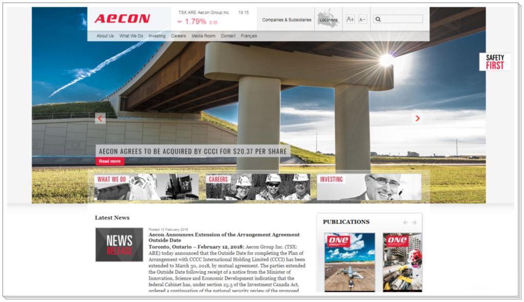 加拿大政府對一家中國企業收購該國建築公司愛康集團(Aecon Group Inc.)的交易案,展開全面的國家安全審核。圖為Aecon的網站。