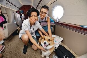 Life Travel開設私人飛機寵物旅遊服務,狗主可與愛犬同機同艙,狗狗毋須受寄貨艙之苦。(受訪者提供圖片)