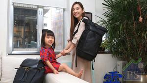 日前,台灣前時尚主編郭育靜來港,帶同細女小夏接受本報訪問,更即席示範如何正確使用快卡背包。