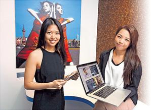 「Time Auction」創辦人梁嘉寶(左)與黃雪兒(右)表示,正尋找方法擴大組織的規模,鼓勵更多年輕人實現夢想。(陳永康攝)