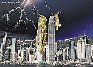 近日在網上討論區,不時可見網民以蝗蟲比喻內地人湧港的設計圖片。(資料圖片)