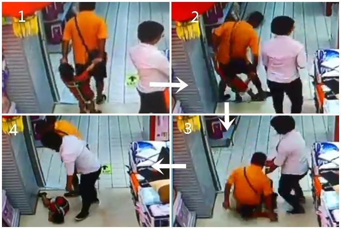 互聯網近日瘋傳短片,一名男子與兒子逛超市時,不慎跌倒壓死兒子。