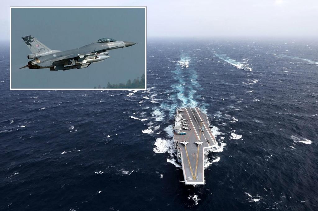中國航母首以編隊形式進入台海峽,台F-16戰機升空應對。