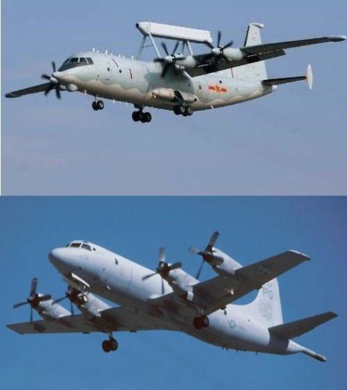 本月8日,在黃岩島周邊海域上空,解放軍空警200預警機(上圖)和美海軍的P-3巡邏機(下圖)發生「異常接近」。