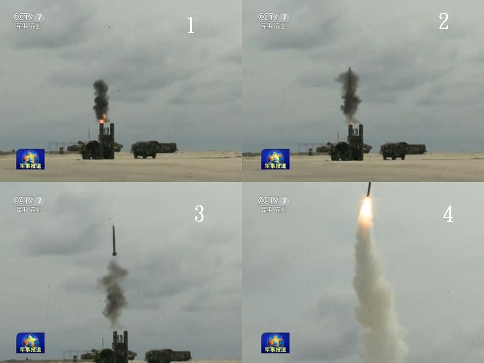 中央電視台公布的畫面顯示,紅旗-9遠程防空導彈,出現在南海演習中。
