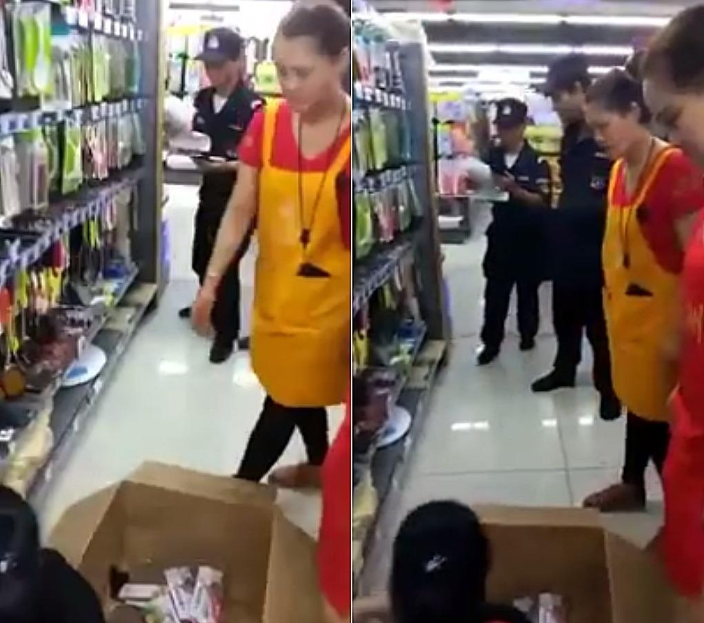網傳短片顯示,北京有超市在公安監視下,把貨架上的刀具悉數收起。