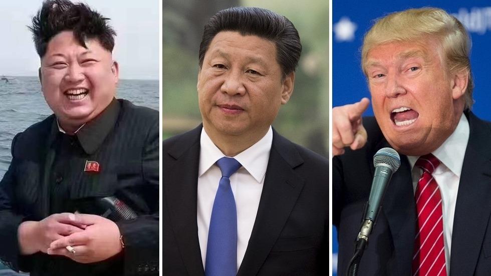左起金正恩、習近平及特朗普。三人上演的中美朝三角關係,直接維繫東北亞局勢。