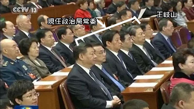 現任政治局常委與王岐山排位。