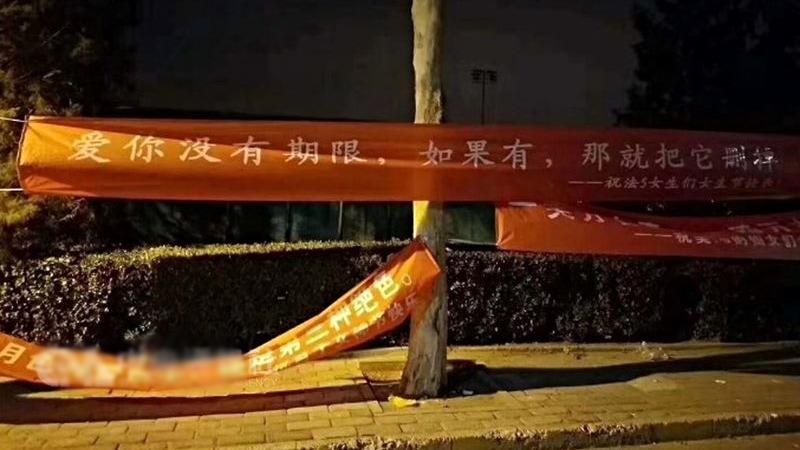為慶祝「三七女生節」,北京清華大學校園近日掛滿向女同學表白的布條,其中包括寫道「愛你沒有期限,如果有,那就把它刪掉」的橫幅。